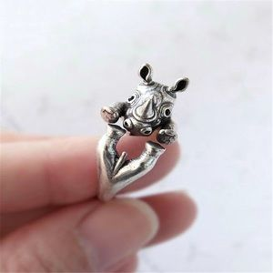 Jewelry - Cute Rhinoceros Ring Silver
